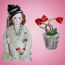 Antique Doll Sized Czech Glass Mini Flower Pot!