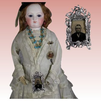 Sterling Silver French Fashion Doll Lovely Picture Frame w Antique Tintype!
