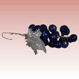 Antique German Blown Glass Grapes Feather Tree Christmas Ornament!