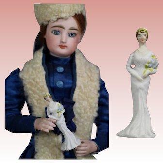 Vintage 1920s Bisque Wedding Bride Doll Sized Figurine Cake Topper!