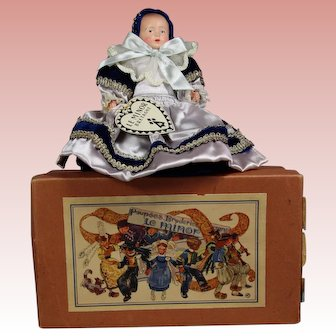 Vintage French Celluloid Baby Breton in Orig Box! Brittany, France!