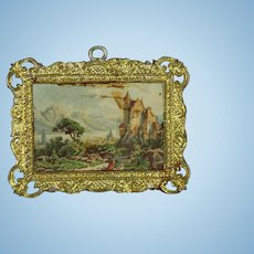 Antique Doll Dollhouse Picture Scene in Metal Frame!