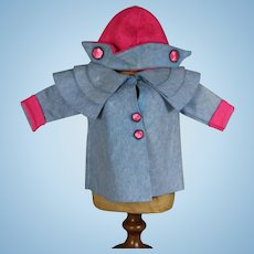 Vintage 1930s Lenci Type Doll Felt Coat and Hat!
