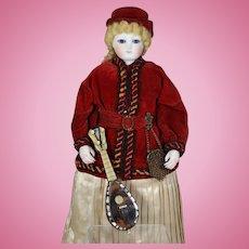 Gorgeous Antique French Fashion Doll Shell Mandolin!