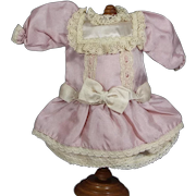 Lovely Pink Silk Bisque Doll Dress for Small Size Doll!