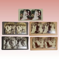 5 Antique 1900s Stereoview Cards w Bride Wedding Theme Photos!