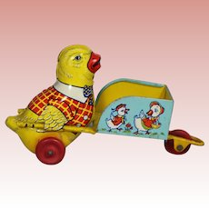 Vintage Chein Tin Litho Chick Easter Push Cart Wheelbarrow!