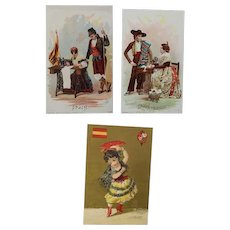 3 Antique Victorian Trade Cards - Singer Sewing Machine - SPAIN