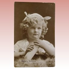 Antique Real Photo Postcard Beautiful Baby Girl w Her Bottle!