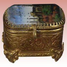 Antique Tiny French Bevel Glass Ormolu Trinket Box Chicago World's Fair 1893