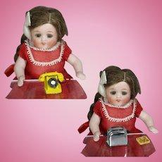 Vintage Mini Dollhouse Doll Metal Telephone & Toaster - ENGLAND