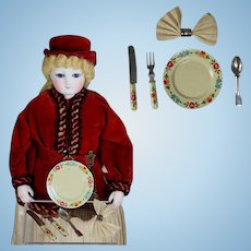Antique Tin Litho Doll Place Setting Plate, Flatware, Napkin Ring