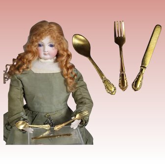 Antique French Fashion Doll Size Gold Toned Flatware