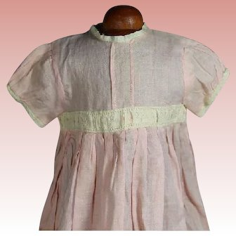 Antique Factory Pink Dress for Bisque Baby Doll! Beautiful!