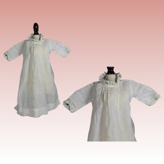 Antique White Cotton Factory Bisque Baby Doll Dress