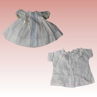 2 Antique Factory Dresses for Bisque Baby Doll!