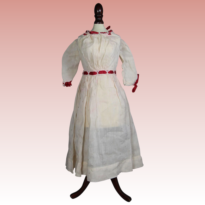 b2abe1e895429 White Antique Bisque Doll Dress with Red Ribbon!   Memories Of ...