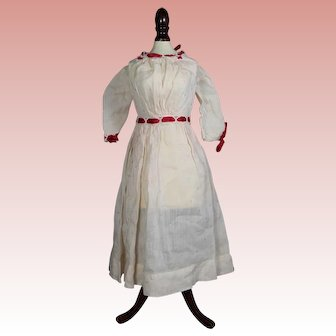 White Antique Bisque Doll Dress with Red Ribbon!