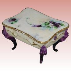 Antique AK Limoges France Footed Trinket Dresser Box!