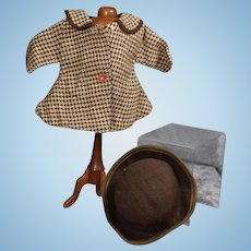 """1940s Arranbee R&B Factory 15"""" Doll Coat and Hat!"""