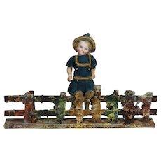 Antique German Doll Size Elastolin Putz Fence
