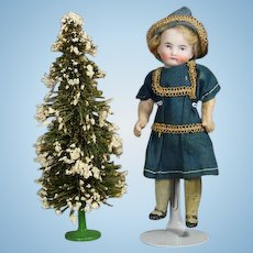 Antique Marked GERMANY Doll Mini Christmas Tree w Cast Metal Base