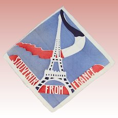 Vintage 1940s WWII France Paris Eiffel Tower Hankie Handkerchief!