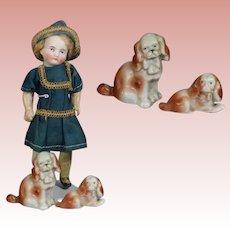 Antique Doll Sized German Bisque Dog King Charles Spaniel Pair