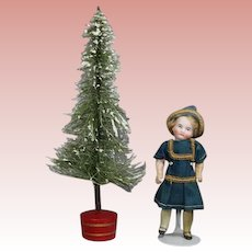 Vintage Doll Sized Christmas Tree w Mica Flakes, Red Base!