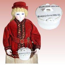 Antique German Bisque Doll Size Butter Dish War Years 1916-17