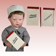 Vintage French Doll Size Memo & Phone Book - Handwritten Christmas Message Inside!
