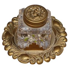 Antique French Inkwell Bevel Glass & Beautiful Ormolu Design!