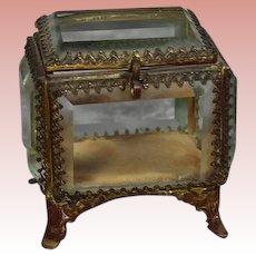 Antique French Bevel Glass Casket Box!