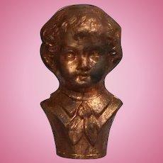Antique Mini Metal Doll Head Mold Bust