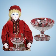 Exquisite Antique French Fashion Doll Etched Glass Fruit Bowl!