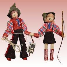 Vintage German Cowboy Cowgirl Cloth Dolls w Hang Tag Heinze Schneider