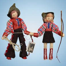 Vintage German Cowboy Cowgirl Cloth Dolls w Hang Tag Heinze Schneider