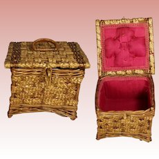Beautiful Antique Wicker German Sewing Basket w Red Interior!
