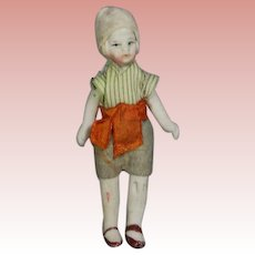 Antique All Bisque Boy Dollhouse Doll in Orig Clothes!