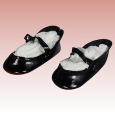 Vintage Black Doll Shoes with Double Side Snaps!