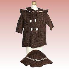 Vintage c1940s Velvet Doll Coat and Hat!