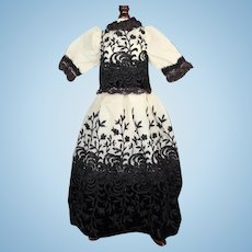 Lovely Old Black and White Doll Dress