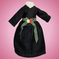 Antique Black Felt Doll Dress w Flowers