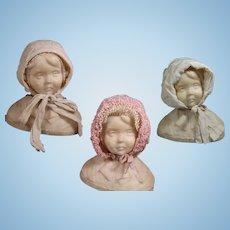 3 Antique Bonnets for Large Baby Doll!