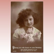 Antique 1910s Girl w Doll - Real Photo Birthday Postcard!