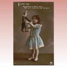 Antique c1910s Girl Holding Steiff Golliwog Doll! Real Photo Postcard