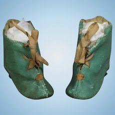 Antique French Fashion Doll Bisque Turquoise Boots!