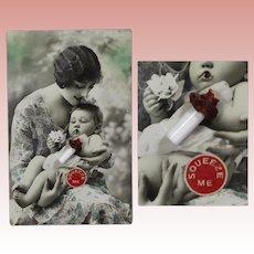 RARE! Antique Squeaker Postcard w Glass Milk Doll Bottle Add On! GERMANY