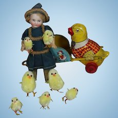 Darling Vintage Mini Doll Size Chenille Chicks for Easter!