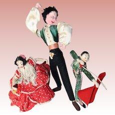 3 Vintage Klumpe Roldan Nistis Spain Spanish Dolls!